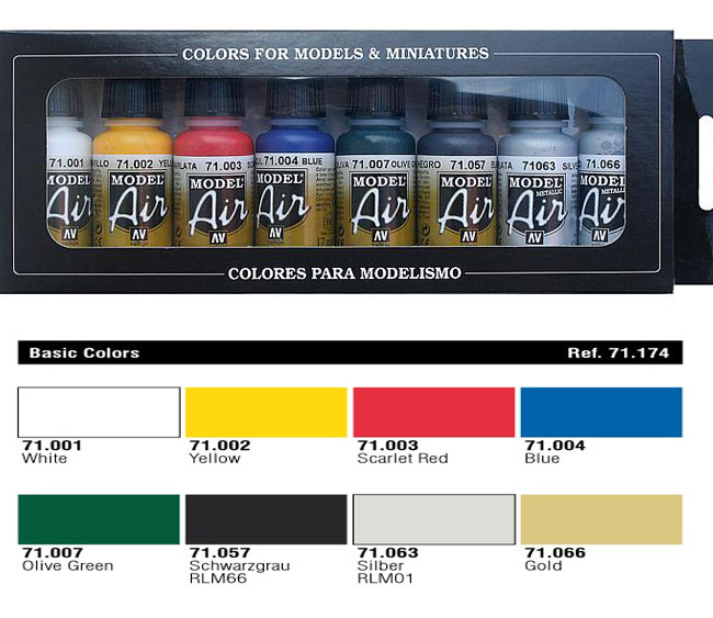 VALLEJO MODEL AIR SET BASIC COLORS  8X17ML. REF. 71174
